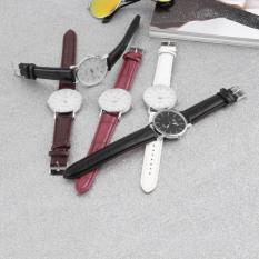 ERA Fashion Dalas Men Women Simple Stlye Big 3 Hand PU Leather Quartz Wrist Watch White - Intl