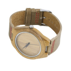 ERA New Fashion Men's Watches Genuine Leather Band Bamboo Wood Wooden Watch Red - Intl
