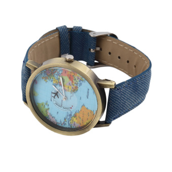 ERA Women Men Fashion Vintage Casual World Map Dial Analog Quartz Wrist Watch Red - Intl