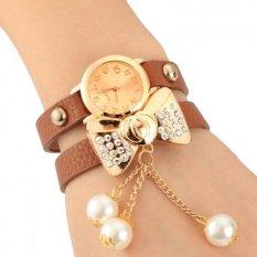 ETOP Lady Women's Bow-knot Beads Rhinestone Artificial Leather Bracelet Wristwatch (Collee)