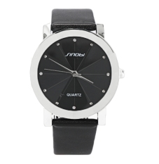 ETOP Men's Analog Quartz Black Synthetic Leather Strap Sport Quartz Watch (Black)