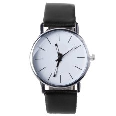 ETOP Men's Women's Analog Quartz Black Synthetic Leather Band Wrist Watch (Black) (Intl)