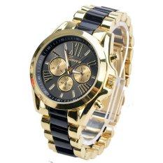 ETOP Menswear Quartz Full Steel Watch Women Watches Casual Dress Ladies Wrist Watch Gold Dial Alloy Watch (Black)
