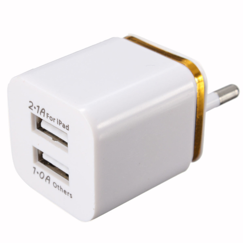 EU plug Dual USB 2.1A/1A Home Wall Power Charger Adapter for iPhone i Pad iPod Golden (Intl)