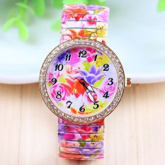 European And American Popular Printing Elastic Strip Ms. Watch Fashion Diamond Floral Drawstring Casual Fashion Table Quartz Wat (Intl)