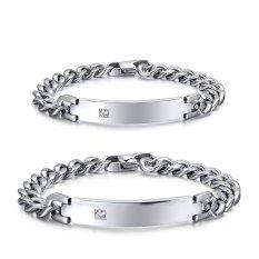 European And American Popular Retro Bracelet Titanium Steel Curved Plate Inlaid Zircon Bracelets Couple