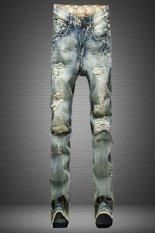 European-style Men's Classic Style Tattered Jeans (Light Blue) (Intl)