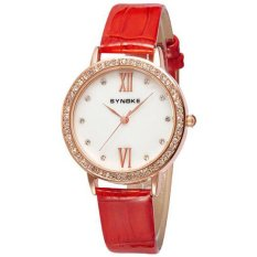 Extendable Women's Fashion Wristwatch Red Man-made Leather Band (Intl)