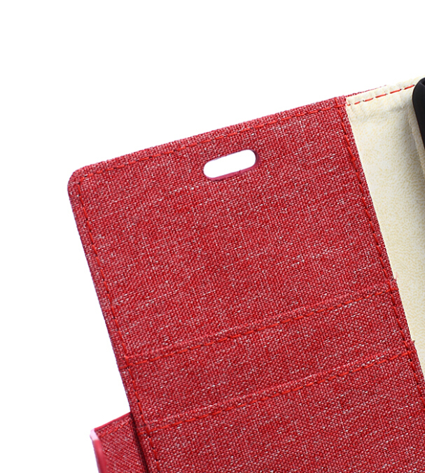 Fabic Grain Flip Cover Case Built-in Card Slot For Oneplus 2 (Red) (Intl)