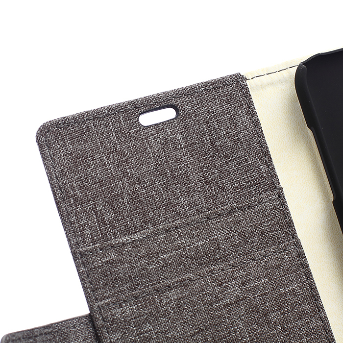 Fabic Grain Flip Cover Case Built-in Card Slot For Samsung Galaxy A8 (Gray) (Intl)