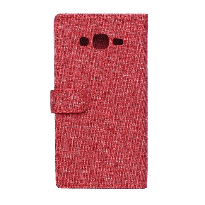 Fabic Grain Flip Cover Case Built-in Card Slot For Samsung Galaxy A8 (Red) (Intl)