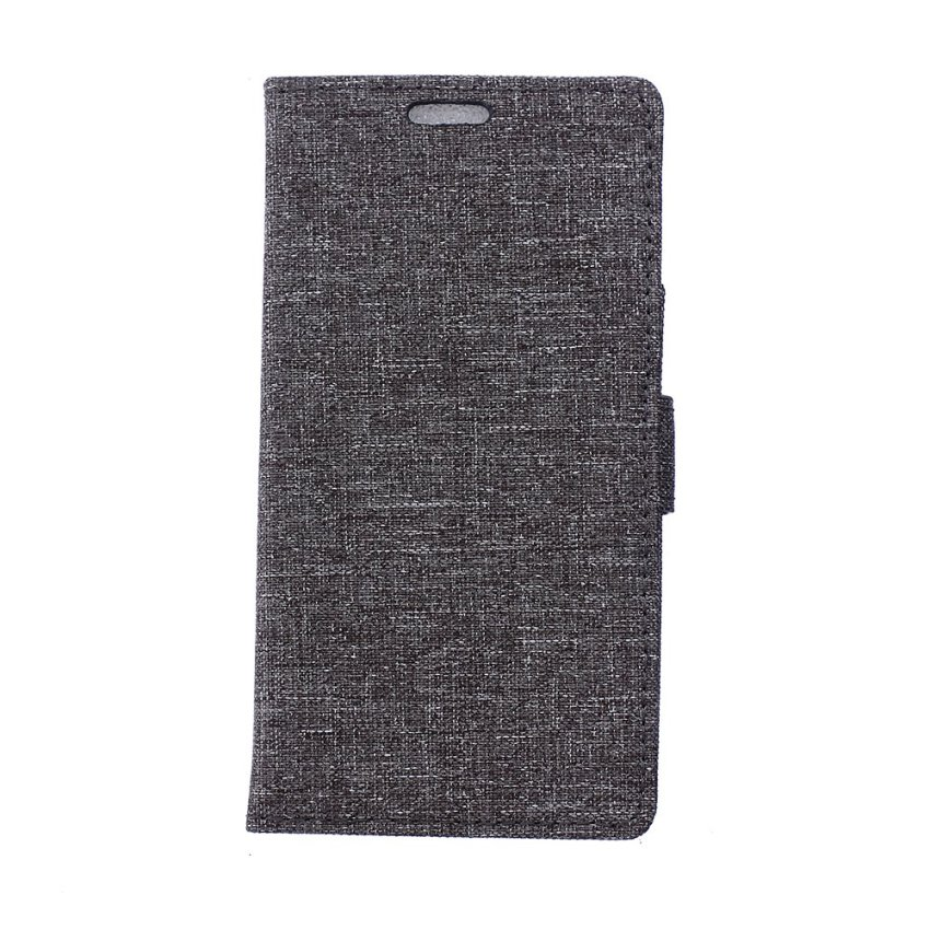 Fabic Grain Flip Cover Case Built-in Card Slot For Samsung Galaxy On5 (Gray) (Intl)