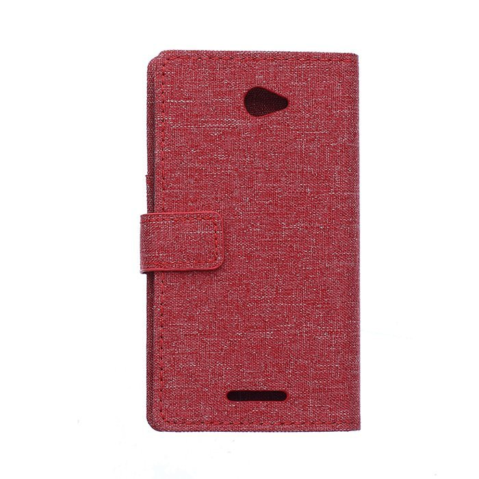 Fabic Grain Flip Cover for Sony Xperia E4 (Red) (Intl)