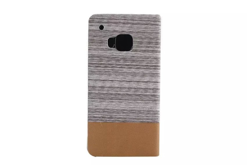 Fabric Grain and Soft Silicone Flip Cover for HTC One M9 (White) (Intl)