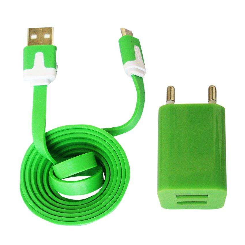 FAK Charger Usb 5V-2A - Double Port Plus Kabel Data Mikro Usb Flat - Hijau