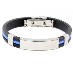 Fang Fang New Fashion Men Womens New Stainless Steel Rubber Wristband Bangle Clasp Cuff Bracelet (Blue)