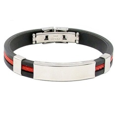 Fang Fang New Fashion Men Womens New Stainless Steel Rubber Wristband Bangle Clasp Cuff Bracelet (Red)