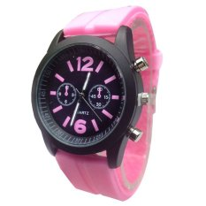 Fashion Boys Girls Ladies Silicone Jelly Gel Quartz Analog Sports Wrist Watches Pink