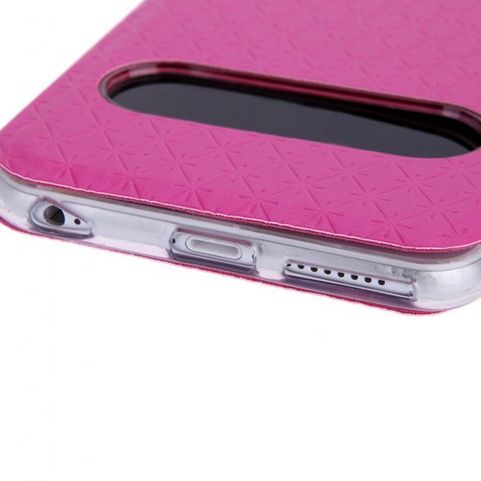 Fashion Dual Double View Window Slim Flip PU Leather Protective Case Cover with Stand for iPhone 6 Plus Rose