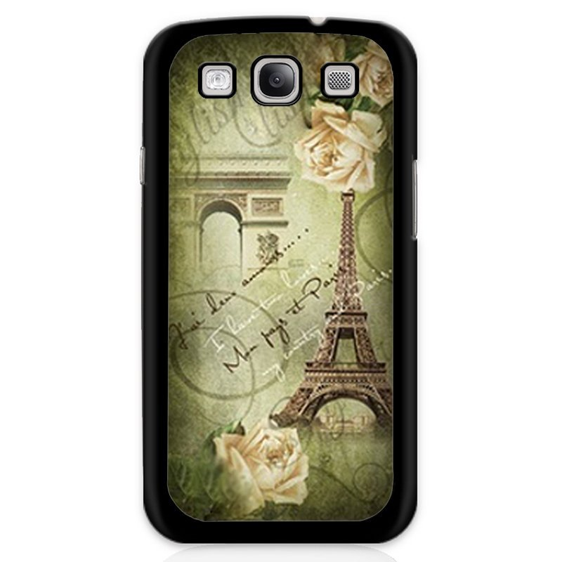 Fashion Eiffel Tower Printed Phone Case for Samsung Galaxy S3 (Black)