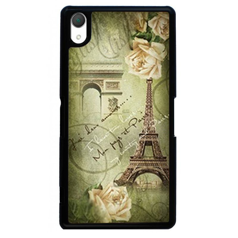 Fashion Eiffel Tower Printed Phone Case for SONY Xperia Z2 (Black)