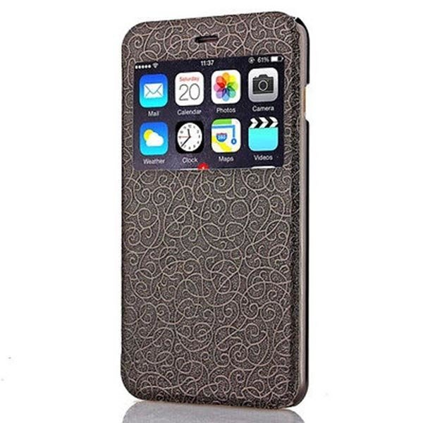 "Fashion Flip Case Wallet Cover View Window Skin For IPhone 6 4.7"" New Arriaval Black"