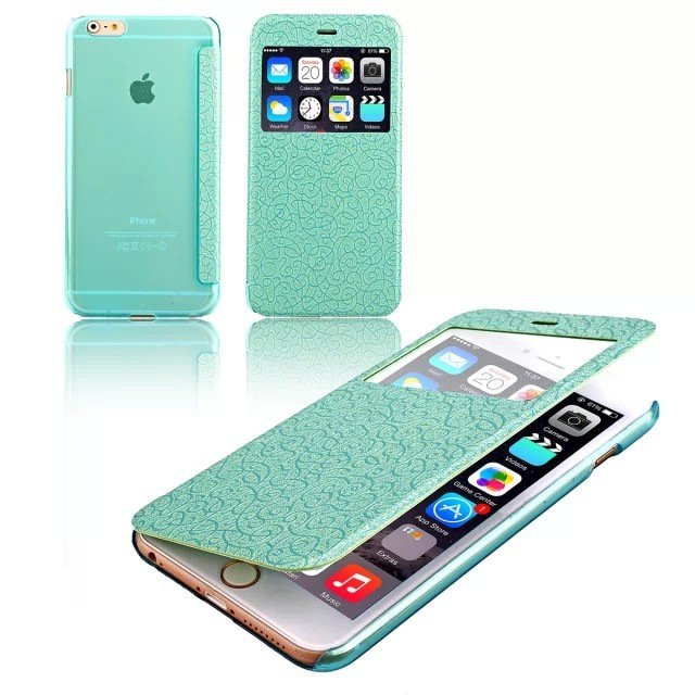 "Fashion Flip Case Wallet Cover View Window Skin For IPhone 6 Plus 5.5"" New Arriaval Mint Green"