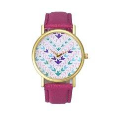 Fashion Lady Women Quartz Aztec Tribal Pattern Leather Wrist Watch (Pink)