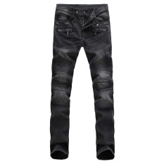 Fashion Mens Straight Slim Fit Denim Trousers (Gray) (Intl)