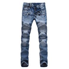Fashion Mens Straight Slim Fit Denim Trousers (Light Blue) (Intl)