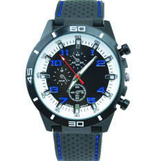 Fashion Racing Sport Quartz Luxury Watches For Men With Silicone Strap Military Army Wristwatches (Blue)