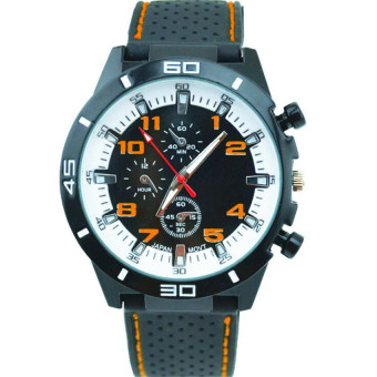 Fashion Racing Sport Quartz Luxury Watches For Men With Silicone Strap Military Army Wristwatches (Orange)