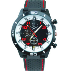 Fashion Racing Sport Quartz Luxury Watches For Men With Silicone Strap Military Army Wristwatches (Red)