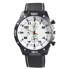 Fashion Racing Sport Quartz Luxury Watches For Men With Silicone Strap Military Army Wristwatches (White)