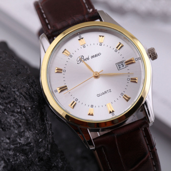 Fashion Reloj Hombre Casual Men's Watch Luxury Brand Quartz Male Clock Leather Strap Watch Men Sports Business Wristwatches Hour - Intl