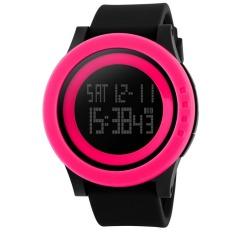 Fashion Silicone Waterproof LED Digital Watch For Men Clock Digital-watch (Watermelon Red)