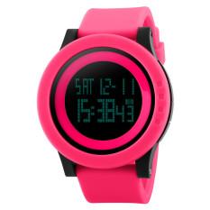 Fashion Silicone Waterproof LED Digital Watch For Men Clock Digital-watch (Watermelon Red) - Intl