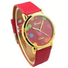 Fashion Simple Dot Rose Red Belt Fashion Watches For Women Quartz Watch - INTL