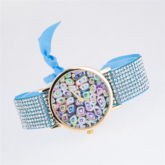 Fashion Style Fabric Geneva Watches Women Quartz Watches Multicolor Ladies Watch Rope Bracelet Watch (Light Blue)