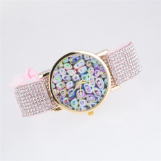 Fashion Style Fabric Geneva Watches Women Quartz Watches Multicolor Ladies Watch Rope Bracelet Watch (Pink)