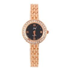 Fashion Watch With Golden Watchband Round Dial Imitation Diamond Quarts Watch Black- Intl