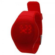 Fashion Women Ladies Girls Sport Touch Screen Round TPU Digital LED Wrist Watch Red (Intl)