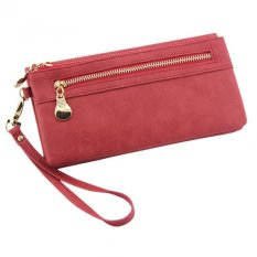 Fashion Women Leather Clutch Wallet Long PU Card Holder Lady Purse Lady Handbag Red - INTL