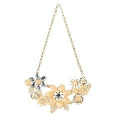 Fashion Womens Pink Flower Choker Bib Statement Necklace Collar Chain Pendant (Intl)