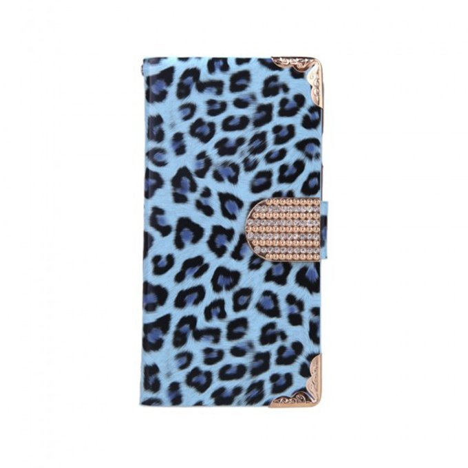 Fashionable Wallet Leopard Case Flip Leather Cover with Card Holder/Strap for Apple iPhone 6Plus Blue
