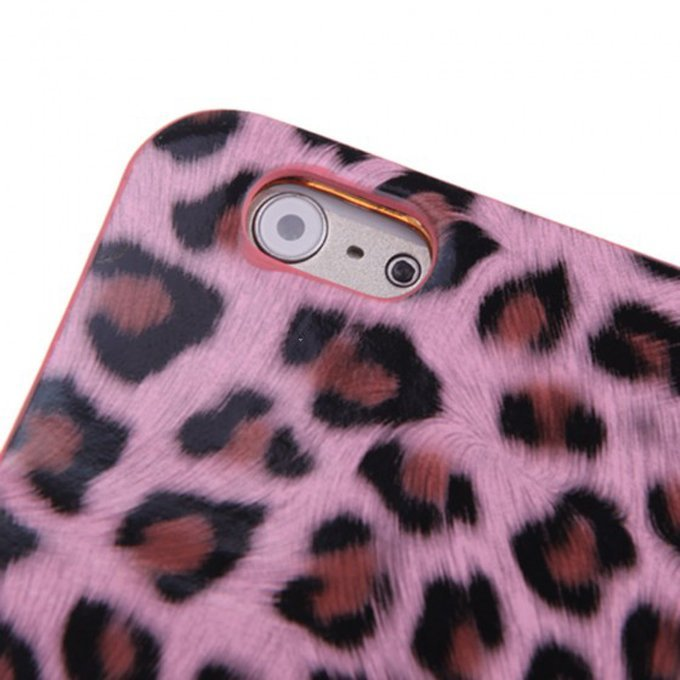 Fashionable Wallet Leopard Case Flip Leather Cover with Card Holder/Strap for Apple iPhone 6Plus Pink