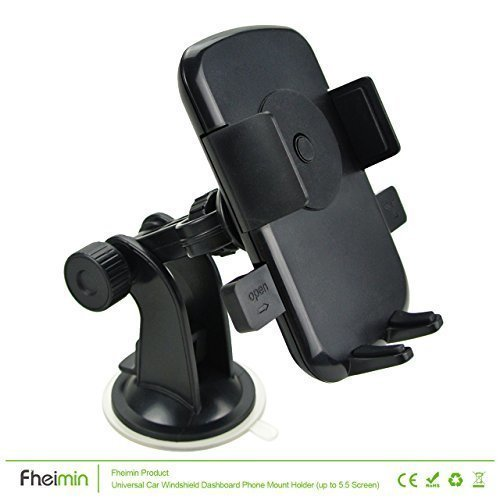 Fheimin One Touch 2 Car Mount Holder Windshield Dashboard Universal car cradle for iPhone 6s Plus 6s 5s 5c, Samsung Galaxy S6 Edge Plus S6 S5 S4, Note 5 4 3, Google Nexus 5 4, LG G4,HTC ect (Black) (Intl)