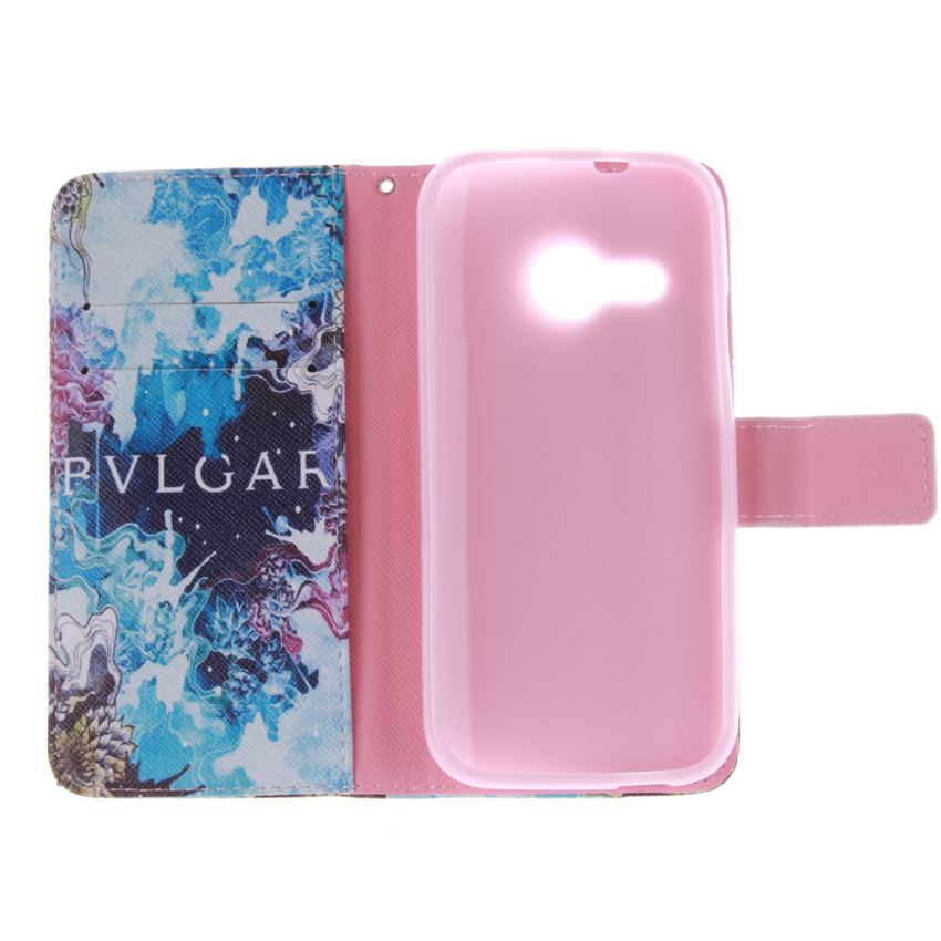 Filp Leather Built in Card Slot With Doule Painting Cover for HTC One M8 Mini (Multicolor) (Intl)
