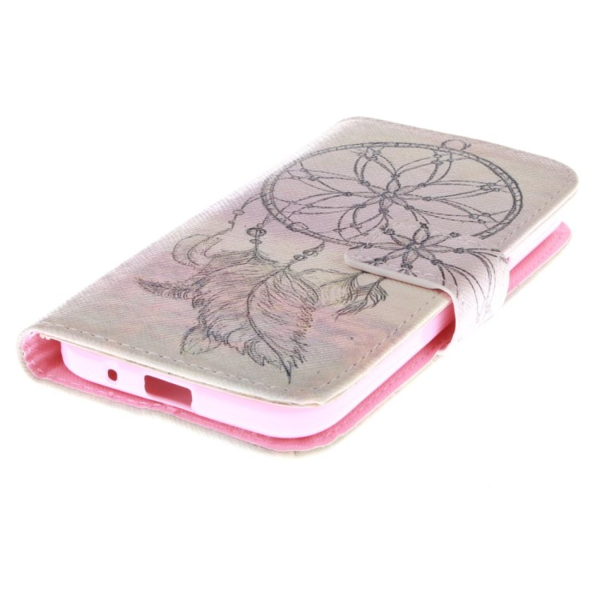 Filp Leather Built in Card Slot with Dreamcatcher Double Painting Case for Samsung Galaxy Core Prime G360-White (Intl)
