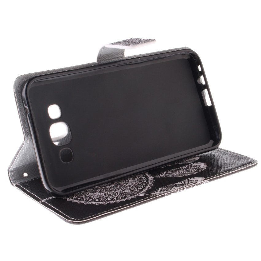 Filp Leather Built in Card Slot With Dreamcatcher Double Painting Cover for Samsung Galaxy E7-Black (Intl)